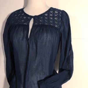 J.Crew Navy Embroidered Gauze blouse/top size 2
